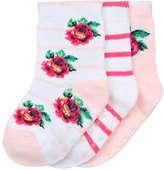 Joe Fresh Baby Girls' 3 Pack Rib Knit Socks, White (Size 0-12)