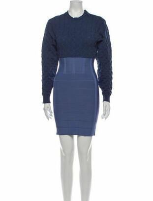 Herve Leger Colorblock Pattern Mini Dress Blue