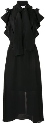 AKIRA NAKA sleeveless draped neckline dress
