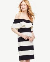 Ann Taylor Stripe Off The Shoulder Sheath Sweater Dress