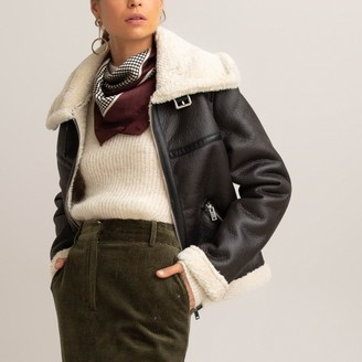 La Redoute Collections Faux Leather Aviator Jacket with Faux Sheepskin Lining