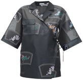 Ganni Floral-embroidered Organza Wrap Shirt - Womens - Black