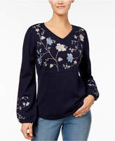 Style&Co. Style & Co Petite Embroidered Tunic Sweater, Created for Macy's