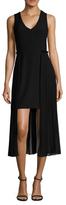 Rachel Roy Crepe Sheath Chiffon Overlay Dress