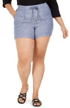 Style&Co. Style & Co Plus Size Cross-Dye Linen Shorts, Created for Macy's