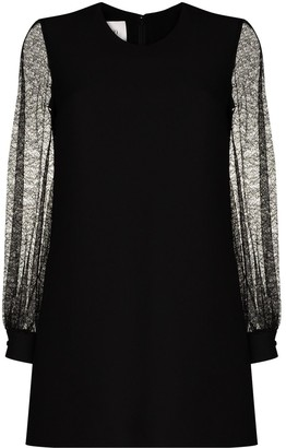 Valentino Lace-Sleeve Mini Dress