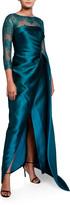 Rickie Freeman For Teri Jon Premier 3/4-Sleeve Satin Wrap Gown w/ Lace Illusion