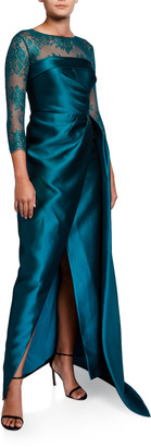 Rickie Freeman For Teri Jon Premier 3/4-Sleeve Satin Wrap Gown w/ Lace Illusion