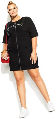 City Chic Denim Zipper Dress - black