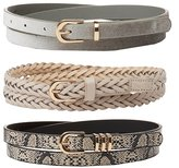 Charlotte Russe Braided, Faux Snakeskin & Velvet Belts - 3 Pack