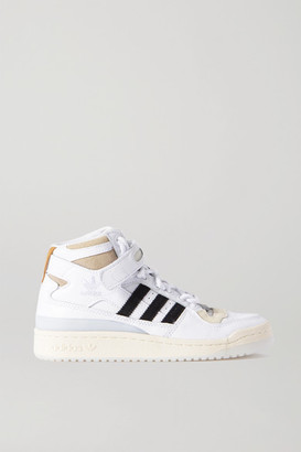 adidas + Ivy Park Forum Mid Leather And Suede High-top Sneakers - White