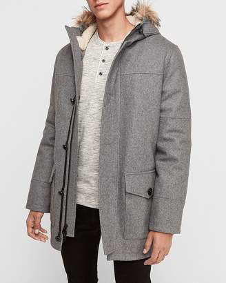 Express Wool-Blend Removable Faux Fur Hood Parka