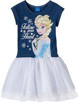 Disney Disney's Frozen Elsa Girls 4-6x Glitter Chambray Tulle Tutu Dress