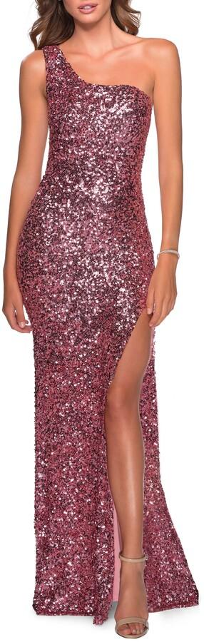 Thumbnail for your product : La Femme One-Shoulder Sequin Gown