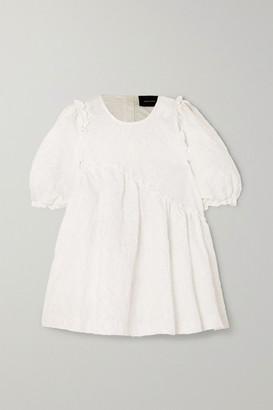 Simone Rocha Oversized Ruffled Cloque Top - White
