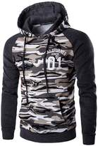 jeansian Men's Fashion Camouflage Stitching Hoodie Sweatshirts D728 XS