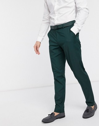 ASOS DESIGN wedding slim suit pants in forest green