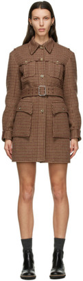 Chloé Brown Wool Houndstooth Jacket Dress