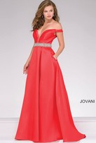 Jovani Off the Shoulder Satin Prom Ballgown 45135
