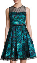 Chetta B Illusion-Neck Floral-Print Full Dress, Green