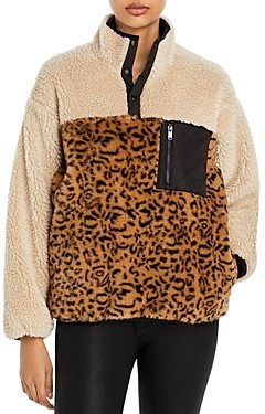 Rails Saga Print Blocked Faux Fur Sweater Jacket