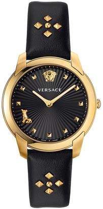 Versace Audrey Black and Gold Detail Dial Black Studded Leather Strap Ladies Watch