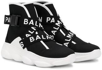 Balmain Kids TEEN logo trims sneakers