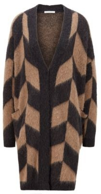 HUGO BOSS Long Edge To Edge Cardigan With Chevron Jacquard - Patterned