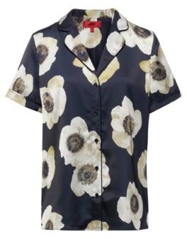 HUGO BOSS Pajama Style Short Sleeved Blouse With Anemone Print - Patterned