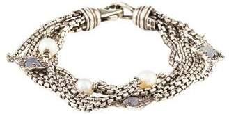 David Yurman Diamond, Pearl & Chalcedony Quatrefoil Multistrand Bracelet