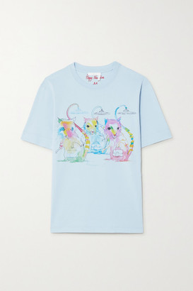Chloé Printed Cotton-jersey T-shirt - Blue