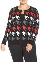 Foxcroft Plus Size Women's Houndstooth Cotton Blend Cardigan