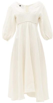 Fil De Vie - Market Empire-waist Linen Midi Dress - Womens - Cream