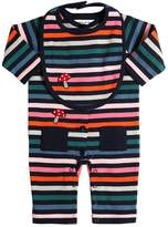 Sonia Rykiel Striped Cotton Jersey Romper & Bib