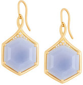 Jamie Wolf Mosaic Hexagon Drop Earrings with Blue Chalcedony & White Diamonds