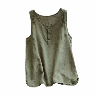 Toamen Women's Vest Tops Sale Summer Vintage Button Up Sleeveless Casual Loose Tank Flowy Linen Racerback Blouse T-Shirt(Army Green 18)