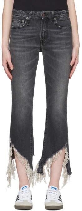 R 13 Grey Kick Fit Jeans