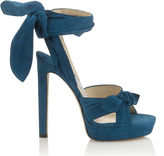 Jimmy Choo VIXEN 130 Midnight Blue Suede Platform Sandals
