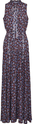 ML Monique Lhuillier Floral-print Silk-crepe Maxi Dress