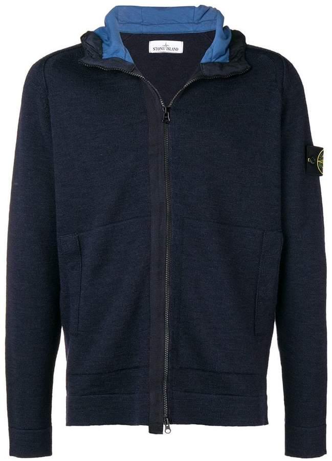 Stone Island zipped hooded cardigan