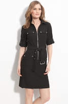 MICHAEL Michael Kors Women's Roll Sleeve Belted Shirtdress