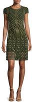 Herve Leger Cap-Sleeve Grommet Fringe-Skirt Bandage Dress, Kale/Combo