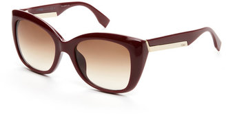 Fendi FF 0019/S Burgundy Faceted Cat Eye Sunglasses