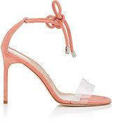 Manolo Blahnik Women's Estro Suede & PVC Ankle-Tie Sandals-CORAL, PINK
