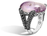John Hardy Women's Classic Chain Celestial Orb Ring, Sterling Silver, 24x18MM Amethyst with Doublet Mother of Pearl