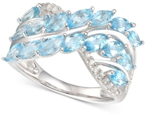 Macy's Blue Topaz (2-1/3 ct. t.w.) & Diamond (1/10 ct. t.w.) in Sterling Silver