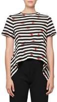 Proenza Schouler Short-Sleeve Striped Poppy-Print Tee