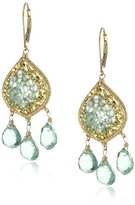 Dana Kellin Green Apatite Mosaic and Triple Flourite Drop Earrings