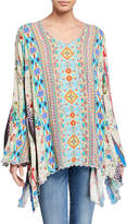 Johnny Was Stella Printed Flare-Sleeve Rayon Georgette Blouse