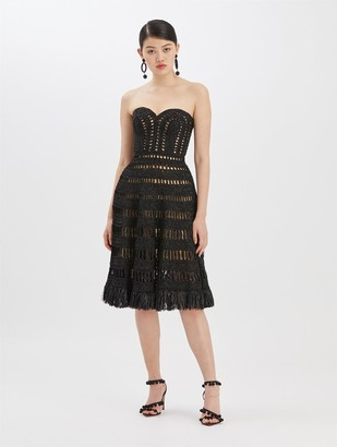 Oscar de la Renta Crochet Strapless Knit Dress
